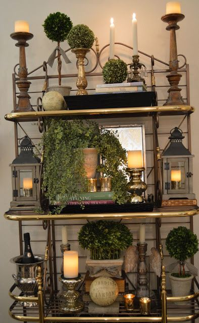 love the arraignments on each shelve. Great ideas for on top of cabinets and tall dressers also