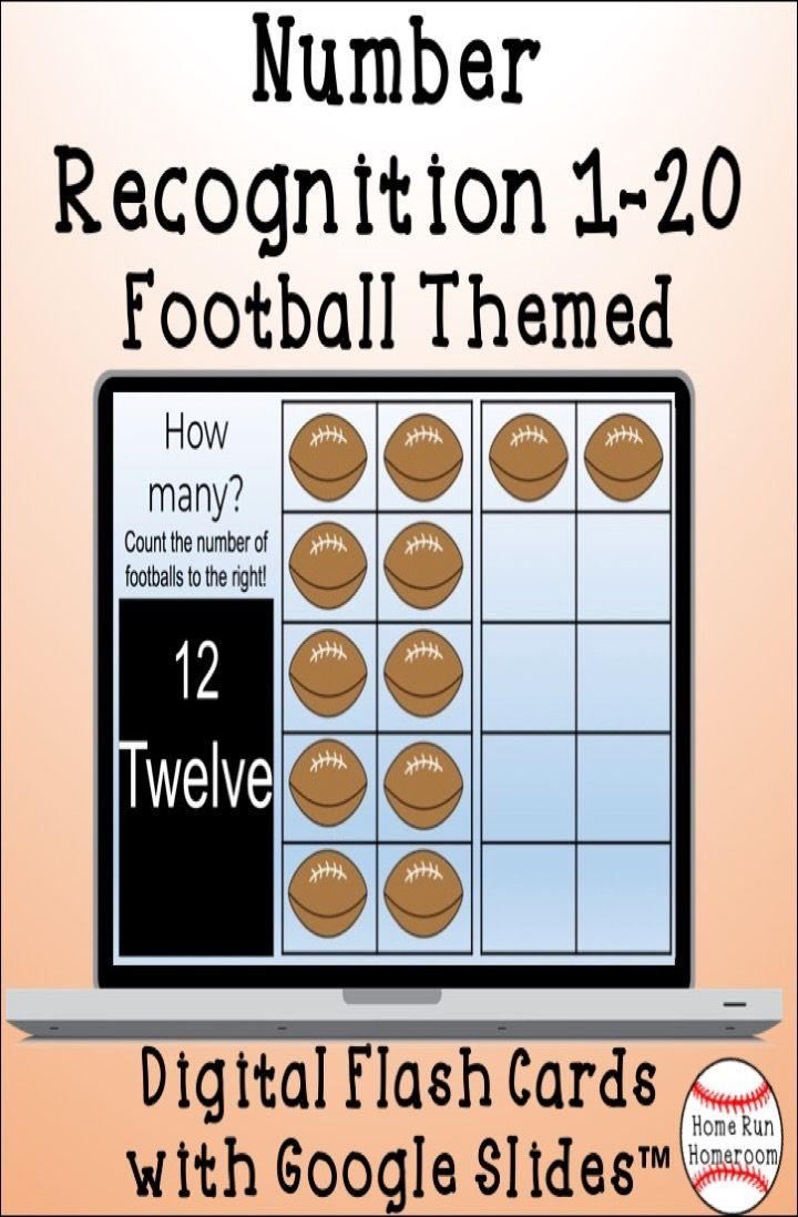 Number Recognition 1 20 Digital Flash Cards Football Themed Fall Math Activities Flashcards Math Resources [ 1098 x 720 Pixel ]