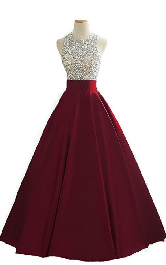 Women's Sequins Keyhole Back Evening Ball Gown Beaded