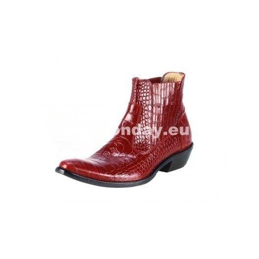 Pánske kožené kovbojky červené - fashionday.eu