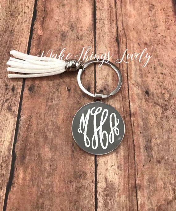 Initial Keychain monogram keychain personalized gift tassel