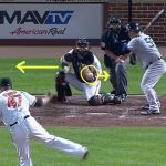 Matt Wieters crossed up on a pitch by Pedro Strop