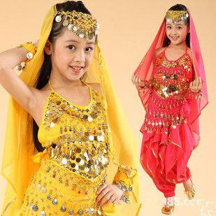 5 шт. танец живота костюм для девочек дети танец живота юбка болливуд танцевальные костюмы дети индийские платья одежда для танцев