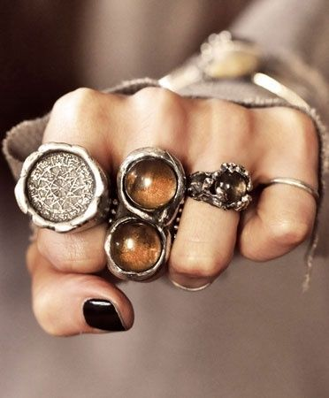 """Pagan oriented rings. Love the """"infinity snake"""" in the middle.....and the first finger one too lol.  (from The Black Hat Society)"""