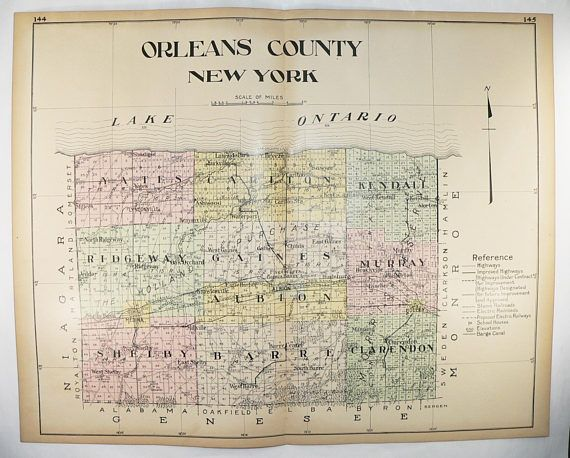 Large Vintage Map Orleans County New York Map, 1912 NY County Map, Genealogy Research, Office Decor Wall Map, Albion NY Medina Lake Ontario available from www.OldmapsandPrints.Etsy.com #OrleansCountyNYVintageMap #LargeNewYorkCountyMap #1912NYCountyMap #NewYorkGenealogy