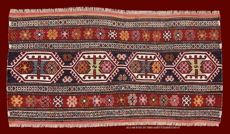 """OLD SHAHSAVAN MAFRASH , ANTIQUE AND OLD KILIMS_141026342026  cm 105 x 55 The term Sumakh points the technique """"wrapped woofs"""" used for the weaving of certain kilims and diffused in whole east"""