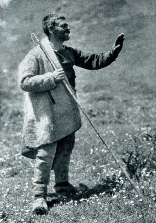 "Albania. ""Aromanian shepherd with his staff"", 1929, photo Hugo Bernatzik"