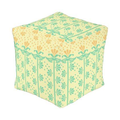 c45286be8  Vintage Art-deco Stylized-flowers floral Pattern Outdoor Pouf -  deco