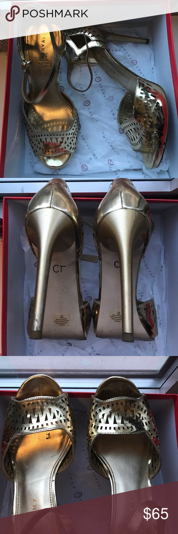 """Gold Ivanka Trump Heels Great gold heels worn a few times. Some scuffing from rubbing against each other but honestly not noticeable (please see all pictures) when you're wearing them BC of the metallic. """"CT"""" on bottom as these were brought to Miss America and had to be labeled. Comfortable too! Would look AMAZING with the purple bcbg gown I have for sale in my closet :) Ivanka Trump Shoes Sandals"""