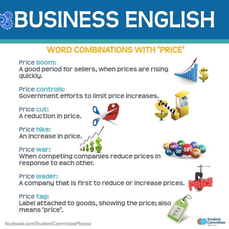 Business English Word combinations with 'price'. - Repinned by Chesapeake College Adult Ed. We offer free classes on the Eastern Shore of MD to help you earn your GED - H.S. Diploma or Learn English (ESL) . For GED classes contact Danielle Thomas 410-829-6043 dthomas@chesapeke.edu For ESL classes contact Karen Luceti - 410-443-1163 Kluceti@chesapeake.edu . www.chesapeake.edu
