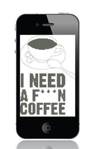 PDF Cross Stitch Pattern 'I need a fn coffee' от mrsMorphineStitch