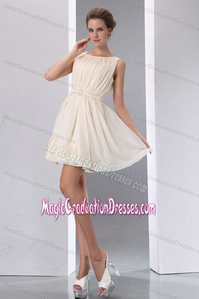 Champagne Scoop Mini-length Graduation Dresses for High School in Weston