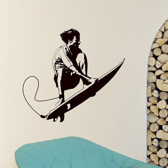 Sport Wall Decal Vinyl Sticker Surfboard Surf Sport Sportsman Wall Decals Bedroom Dorm Boy Nursery Teen Kids Room Wall Art Home Decor Z841
