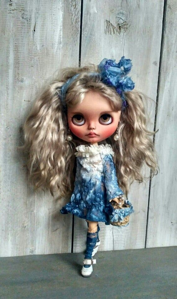 Avery Blythe doll custom ooak companion collectible doll mohair weft