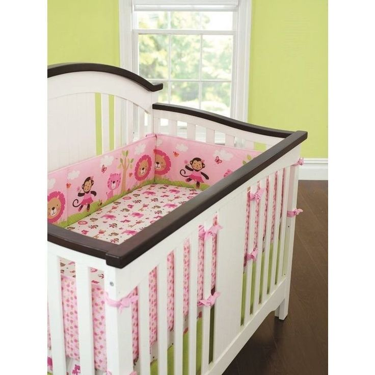 4 Piece Baby Cot Bumper Set Protectors in Pink Zoo | Buy New Arrivals