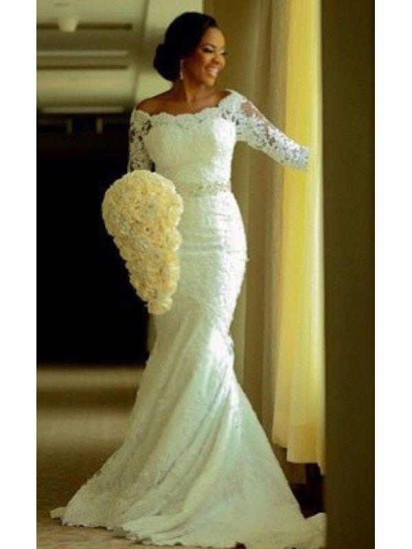 HALF SLEEVES MERMAID LACE WEDDING DRESSES WITH BEADED SASH