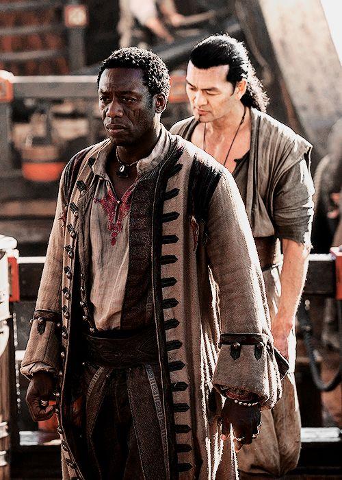 Mr. Scott and Joji - Hakeem Kae-Kazim and Winston Chong in Black Sails Season 2 (TV series).