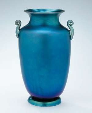Blue Aurene  by Frederick Carder (American, born in England, 1863-1963) early 20th century when he directed the Steuben Glass Works. Photo courtesy the Collection of the Corning Museum of Glass
