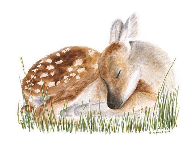 Woodland Kinderzimmer Dekor, Baby Deer Kunst, Fawn Wandkunst, Aquarell Hirsche, Baby Mädchen Zimmer Kunst, Woodland Baby Tiere, tierische Kunst