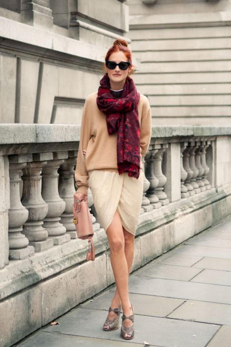 nude tones + drape front skirt