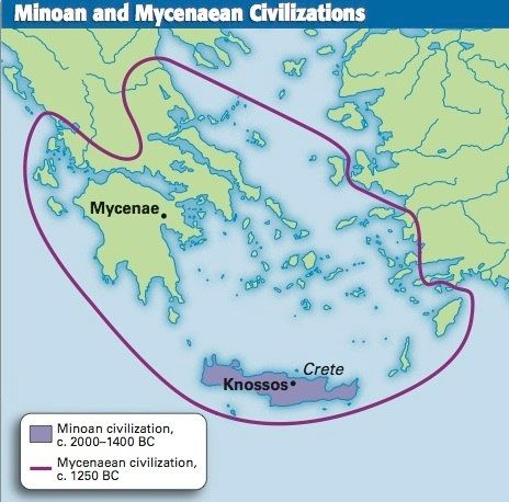 minian and mycenaean civilizations map 464Ã 458 ancient