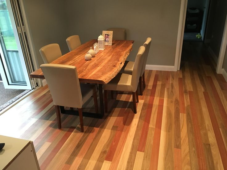 Mixed hardwood floor with matching table