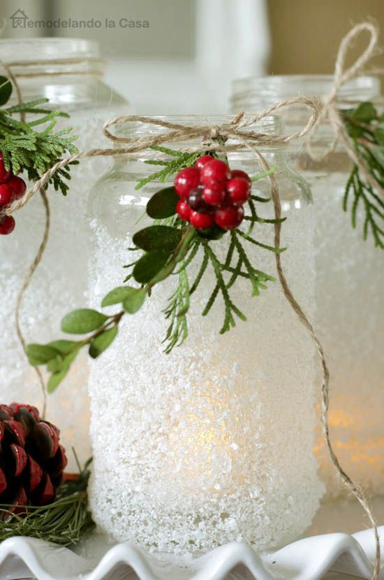 A GORGEOUS winter decoration - Epsom salts Luminaries - SO easy!