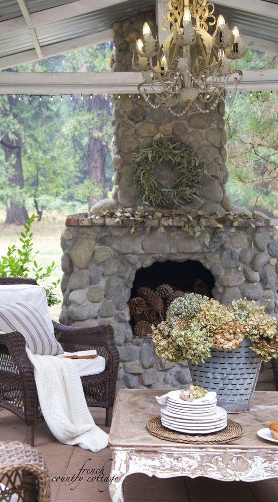 6503 best outdoor spaces images on pinterest home for Country stone fireplace