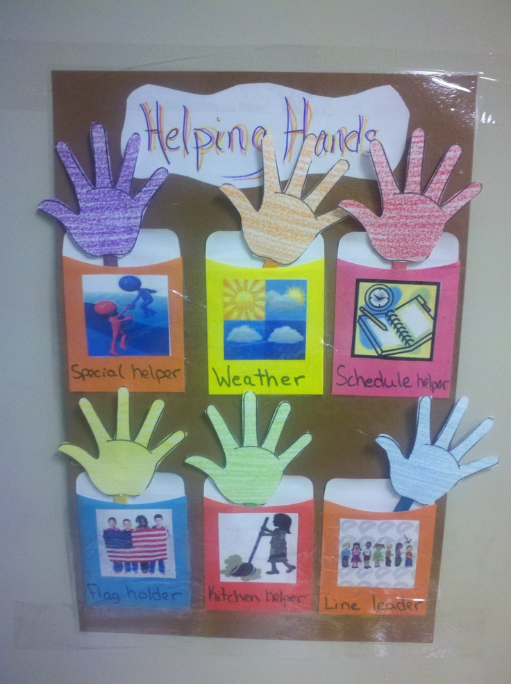 Helping hands classroom job chart. Write the childs name on the hand.