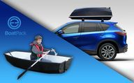 Car roof storage box converts to small boat!