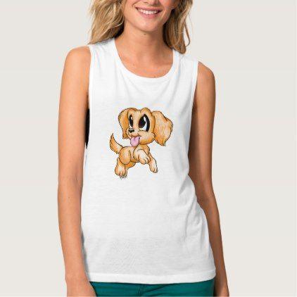 #Hand Drawn Golden Retriever Women's Muscle Tank - #golden #retriever #puppy #retrievers #dog #dogs #pet #pets #goldenretriever