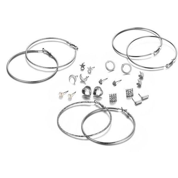 Heart & Hoop Design Earring SetFor Women-romwe ❤ liked on Polyvore featuring jewelry, earrings, heart earrings, heart jewelry, heart shaped earrings, heart jewellery and earring jewelry
