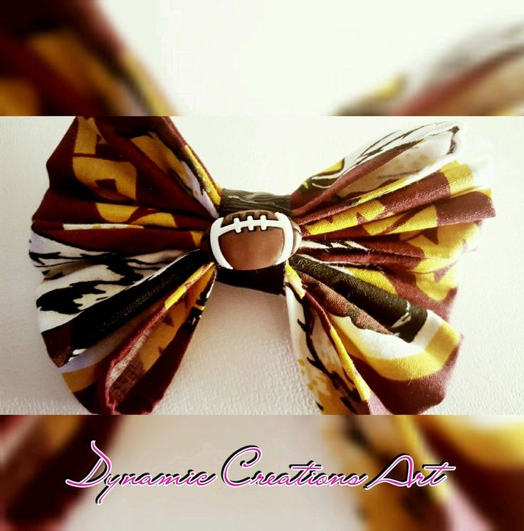 Dynamic Creations Art NFL Redskins Handmade Fabric Hairbow 100% Cotton  #DynamicCreationsArt
