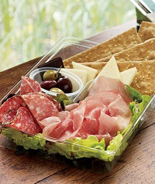 Not a recipe...but you get the idea. Starbucks Salumi & Cheese Bistro Box-- prosciutto, peppered and dry salami, asiago cheese, rustic crackers and olives. Dark Chocolate. This is what I was telling you about, girl