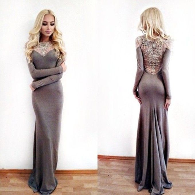 Sexy Prom Dresses,Gray Prom Dress,Modest Prom Gown,Mermaid Evening Gowns,Beaded Evening Dress,Evenin on Luulla