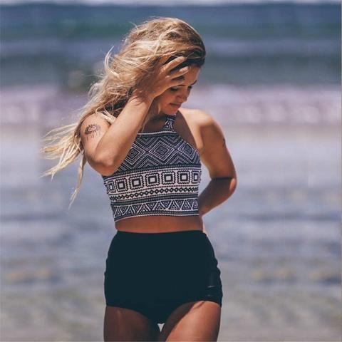 2e6de451d5d37 High Waist Swimsuit 2017 Two Piece Swimwear Women High Neck Bikini Cropped  Biquini Plus Size Tankini Pineapple Bathing Suits