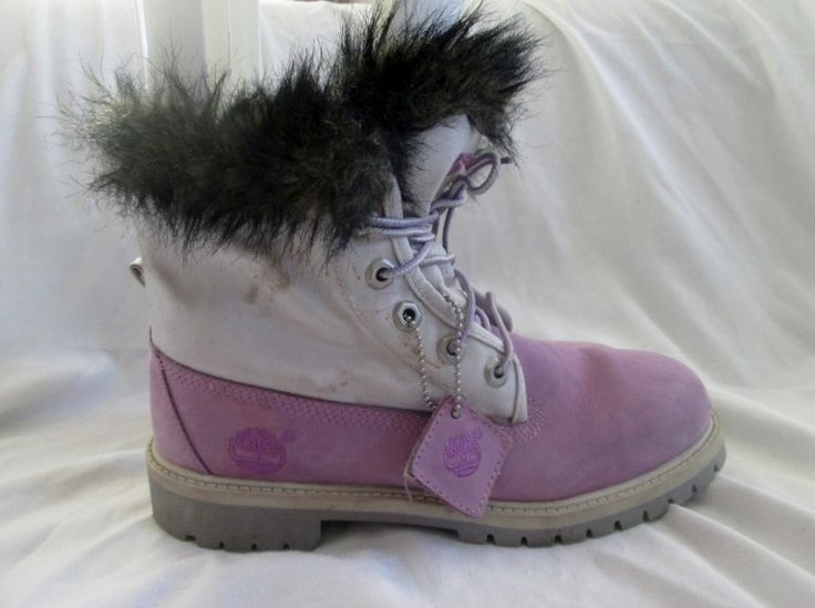 Kids Girls TIMBERLAND Hiking Trekking Boot Suede Leather Shoe PURPLE 5 Fur