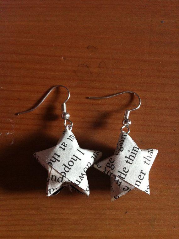 Book print origami star earrings