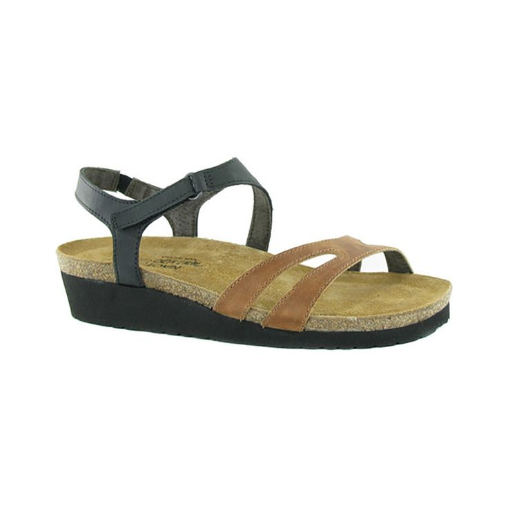 Naot Women's Janis Strappy Sandal, Size: 41 M, Maple Brown Leather/Oily  Coal Nubuck