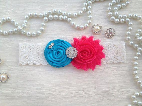 wedding garter turquoise/hot pink bridal garter by alarasstore