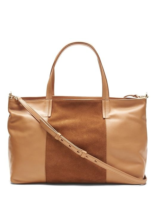 Banana Republic Womens Portfolio Slouchy Convertible Tote With Suede Panel Camel Size One