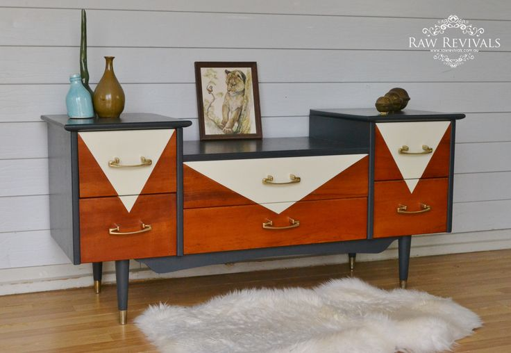 Retro Mid Century Sideboard. Hand painted. www.rawrevivals.com.au