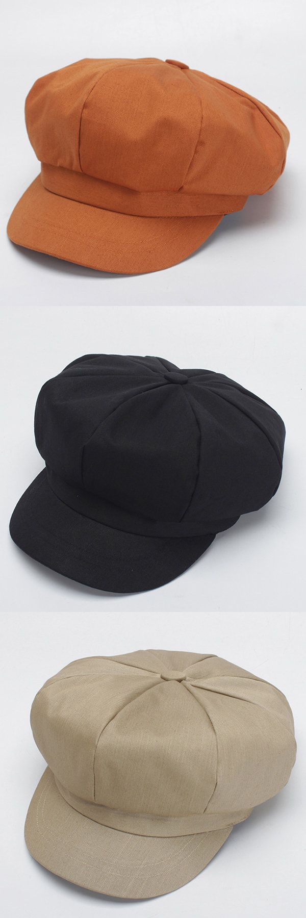 Women Solid Color Cotton Octagonal Cap Beret Cap Elegant Casual Fashion Hats Painter's Hat