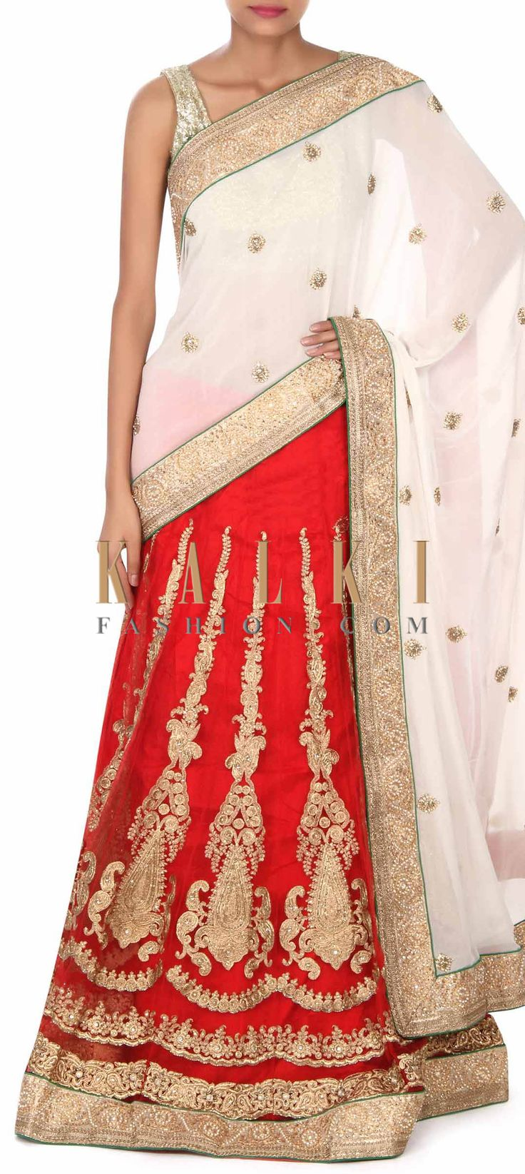 Buy this Half and half saree embellished in zari and kundan only on Kalki