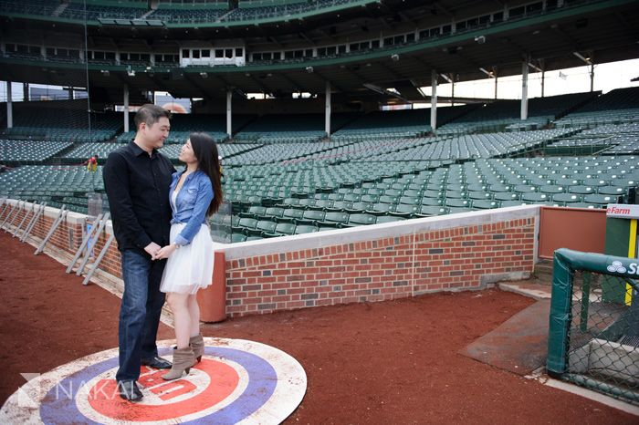 Chicago Cubs Wrigley Field Engagement Photos! Creative engagement pictures for the baseball fan! Chicago Engagement Photographer - Nakai Photography http://www.nakaiphotography.com