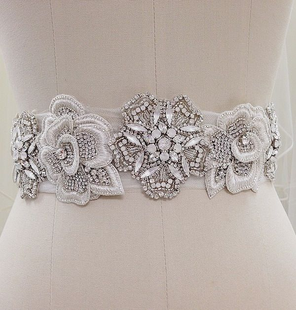 Erin Cole Bridal Belts, Sashes. Beaded rose appliques alternate with beaded medallions accented with white opal & moonstone crystals on this unique bridal sash.