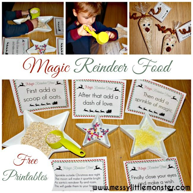 Magic Reindeer Food.  A magical Christmas activity for kids. FREE PRINTABLE labels and poem