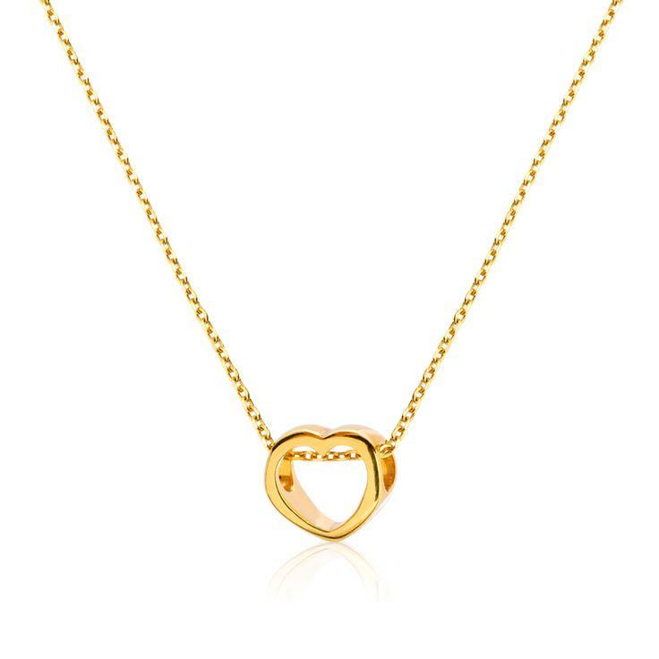 Minimalistyczny naszyjnik z serduszkiem wykonany ze srebra próby 925 złoconego 24K złotem. #heart #jewellery #necklace