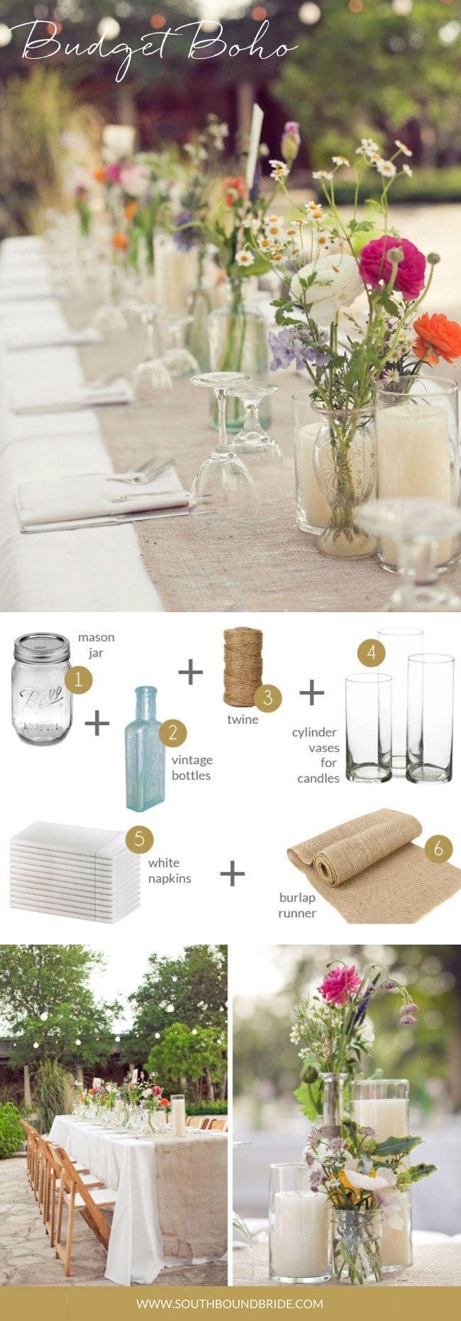 Budget Boho | How to Style a Boho Wedding Tablesca…