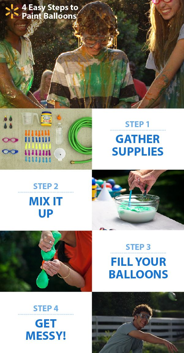 """Super-messy & colorful outdoor summer fun! Paint Balloons are a budget-friendly and easy homemade project, perfect for the backyard on a hot summer day. Kids will love mixing up the ingredients and having colorful """"splash battles"""" on the lawn. All you need are water balloons, a few simple kitchen ingredients (food dye, corn starch & water) and an outdoor space to play. Check out this and lots of other fun summertime DIY activity ideas at the link."""